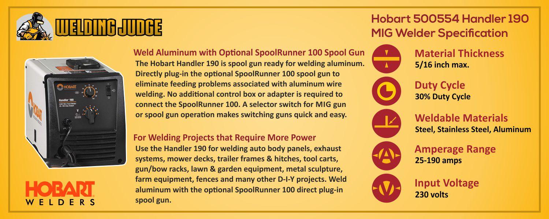 Hobart 500554 Handler 190 MIG Welder details