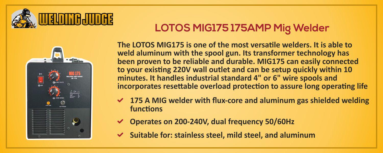 LOTOS MIG175 175AMP Mig Welder details