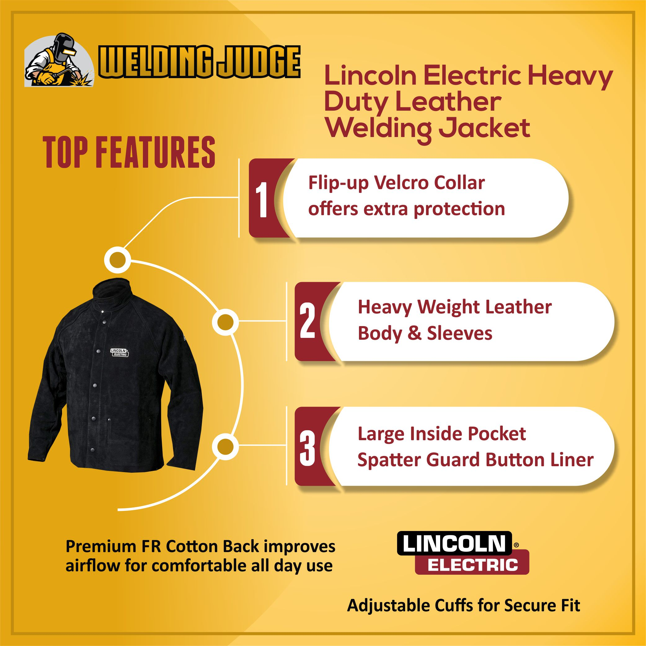 Lincoln Electric Heavy Duty Leather Welding Jacket infographic details