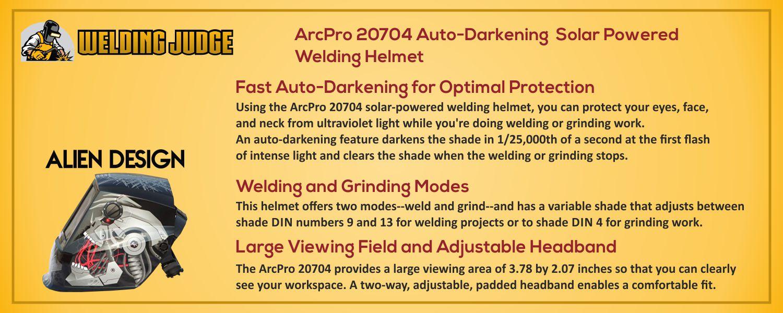 ArcPro 20704 Auto-Darkening welding helmet information