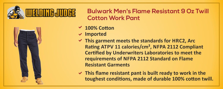 Bulwark Men's Flame Resistant Cotton Pant information