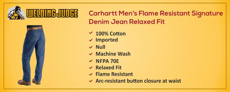 Carhartt Men's Flame Resistant Signature Denim Jean information