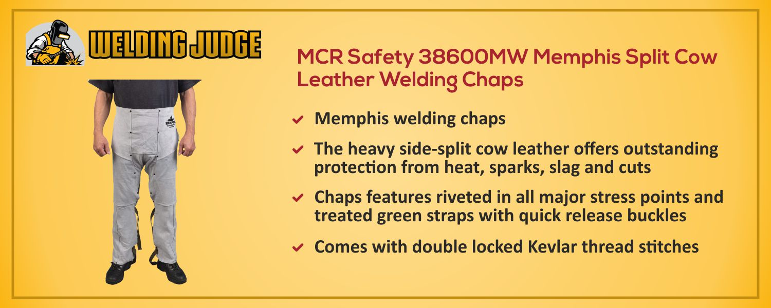 MCR Safety 38600MW Leather Welding Chaps information