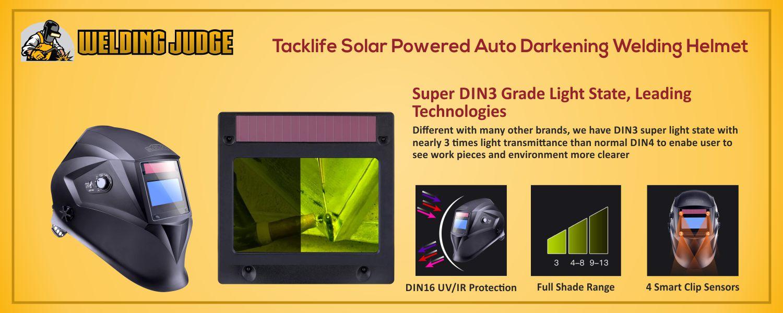 Tacklife Solar Powered Auto Darkening Welding Helmet information