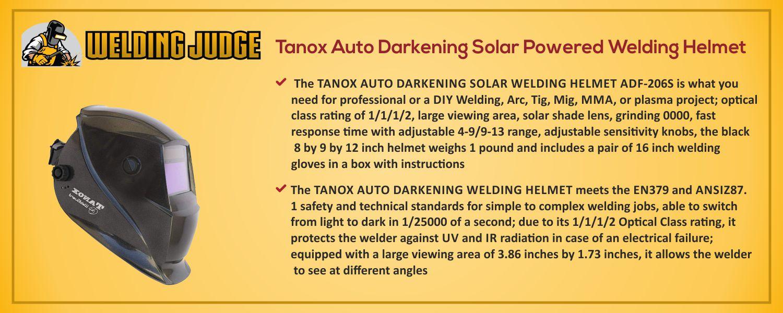 Tanox Auto Darkening Solar Powered Welding Helmet information