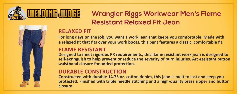 Wrangler Riggs Work Wear Men's Flame Resistant Fit Jean information