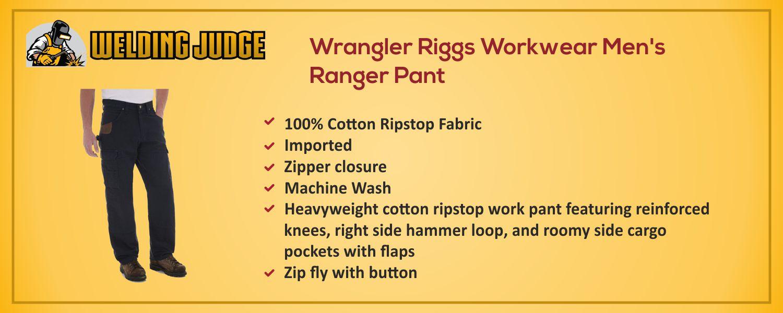 Wrangler Riggs Workwear Men's Ranger Pant Information