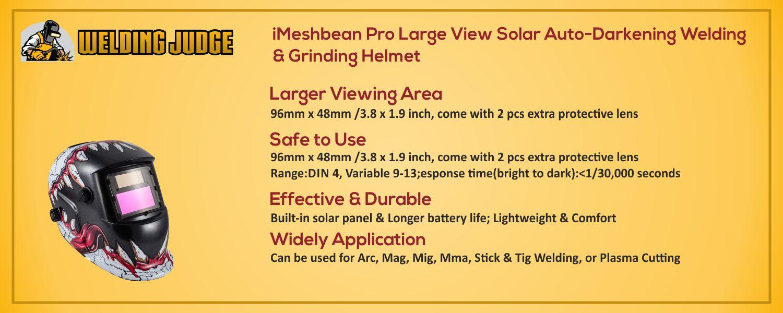 iMeshbean Pro Auto-Darkening Welding & Grinding Helmet information