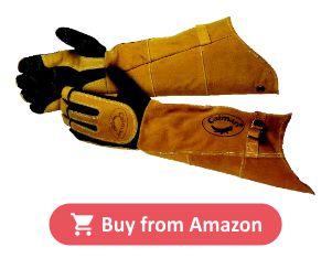 CAIMAN 1878-5 Glove, Welding, 21 In L, Blk and Gold, L, Pr