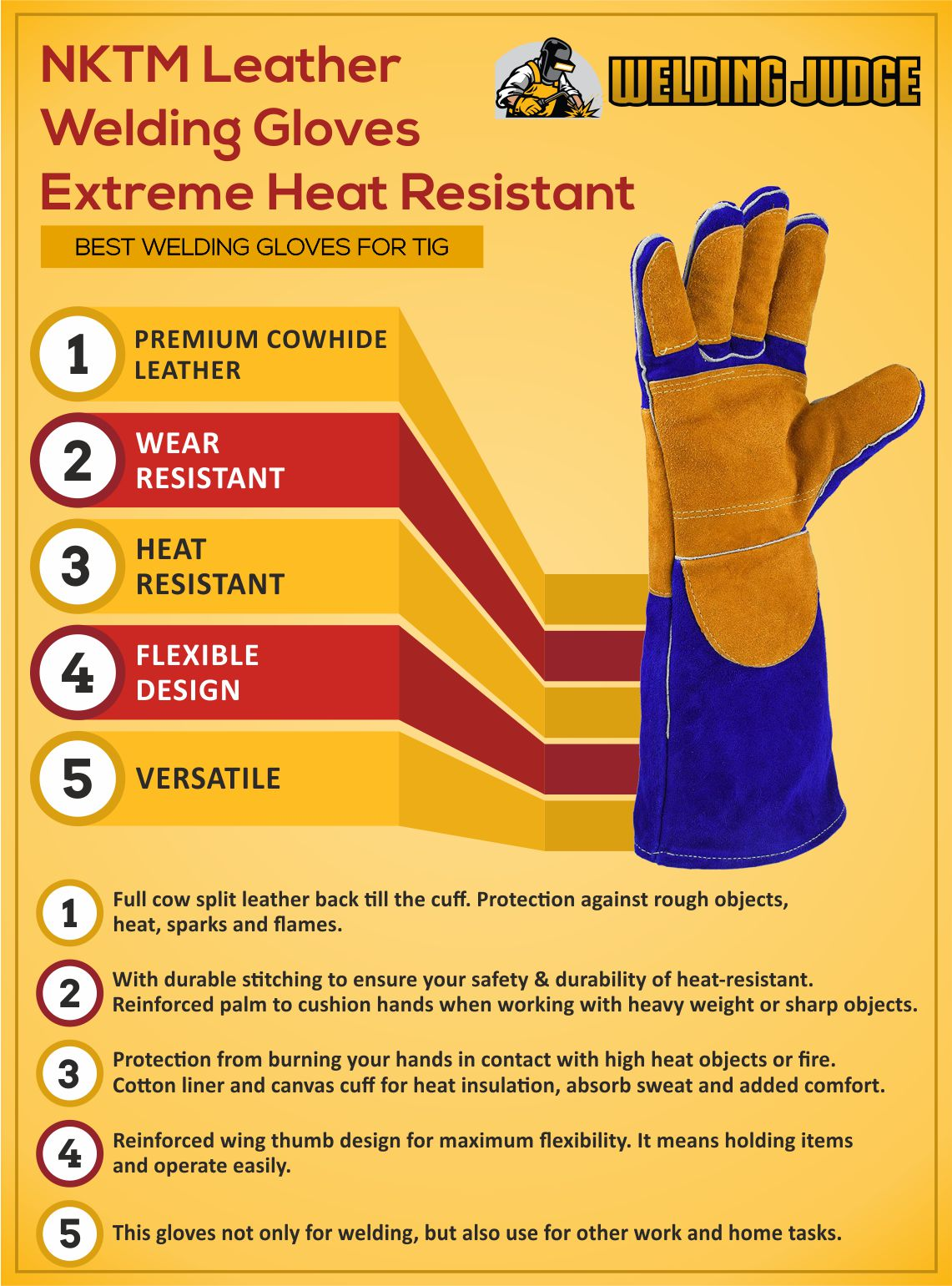 NKTM Leather Welding Gloves Infographic Review