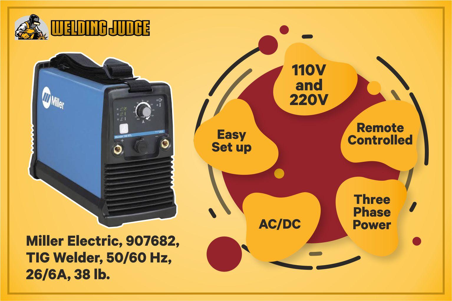 Miller Electric, 907682, TIG Welder, 50 60 Hz, 26 6A, 38 lb infographics