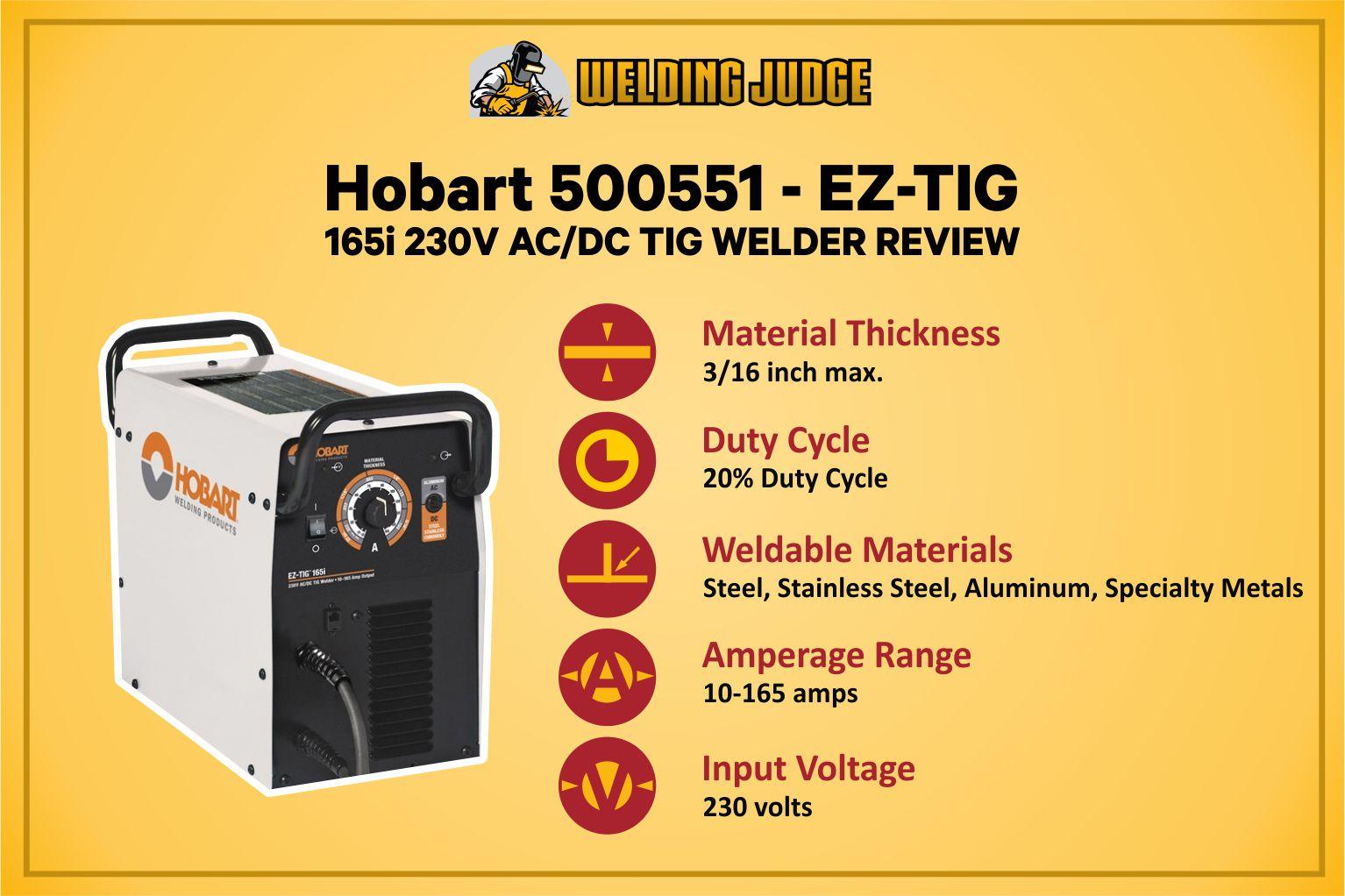 Hobart EZ-TIG 165i Specification